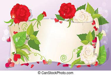 rose, amour, format, jacinthe des bois, -, illustration, fond, rose, lettre, violet, cœurs, horizontal, fleurs, pâquerette