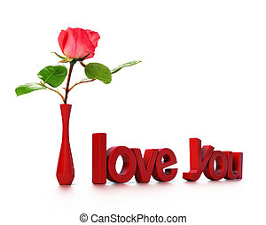 rose, amour, rose, vous, message, carte