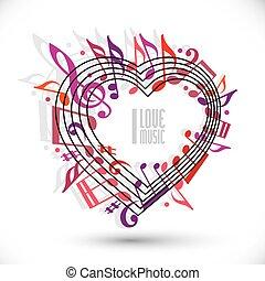 rose, amour, vecteur, musique, colors., gabarit, violet, rouges