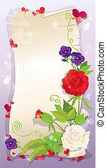rose, amour, vertical, format, jacinthe des bois, -, illustration, fond, rose, lettre, violet, cœurs, fleurs, pâquerette