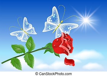 Rose and butterflies in the sky