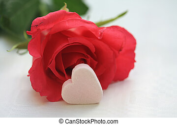 A red riose and a white candy heart