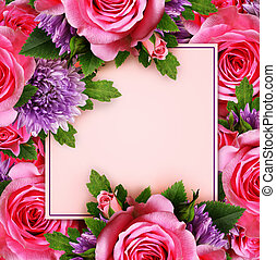 Rose and chrysanthemum flowers with card