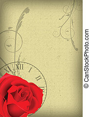 ROSE AND CLOCK BACKGROUND