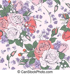 Rose and lavender - Vintage luxury seamless pattern with...