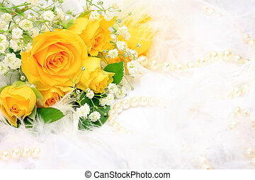 rose and pearl - I attached a pearl to a yellow rose and...