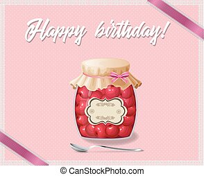 Rose and polka dots birthday card with jam jar of cherry and spoon