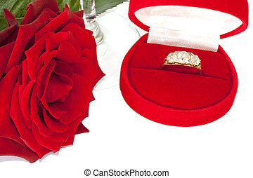Rose and ring in a case