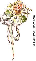 Rose and satin ribbon. Wedding boutonniere.