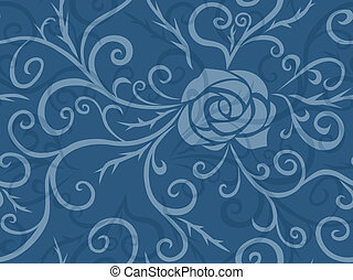 Rose and thorns - Grunge floral seamless pattern