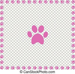 Rose animal's pawprint icon framed with paw prints square border