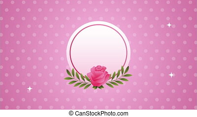 rose, animation, circulaire, fleur, beautifull, cadre, rose