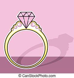 rose, anneau, diamant