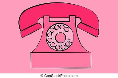 rose, antique vieux, arrière-plan., vendange, illustration, téléphone, snorkel, vecteur, hipster, retro, disque, stationnaire