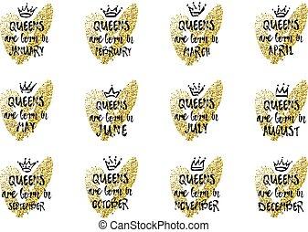 rose, août, heart., septembre, juin, octobre, décembre, avril, couronne, main, né, jasnuary, juillet, texte, novembre, mars, dessiné, février, mai, reines