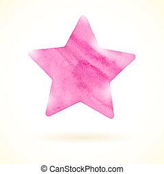 rose, aquarelle, étoile