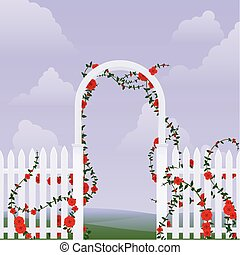 Rose arbor - Simple arbor with climbing roses against a sky...