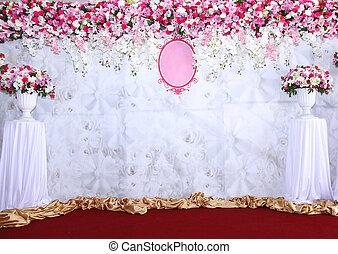 rose, arrangement, wedding., prêt, fleurs blanches, toile de fond