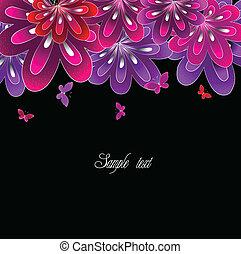 rose, arrière-plan., fleur, noir, vecteur