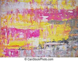 rose, art abstrait, jaune
