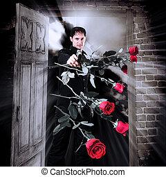 rose, assassino, fucile, rosso, uomo