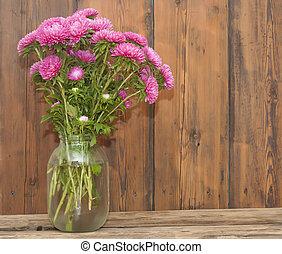 rose, asters, fleurs, bouquet