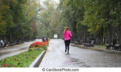 rose, automne, formation, femme, coureur, pluie, parc, jeune, exercisme, complet, courant, dehors, vue postérieure