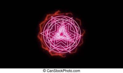 rose, autour de, brûler, magie, dodecagon, puissant, arme, puissance