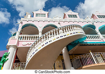 rose, bâtiment, stuc, escalier, sprial