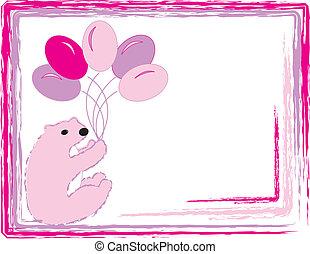 rose, bébé, ballons, ours