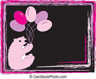 rose, bébé, ours noir