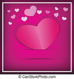 rose, b, papier, vecteur, 4, cœurs, carte