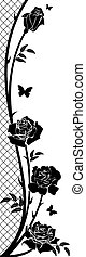 rose background - vector border with rose, butterflies and...