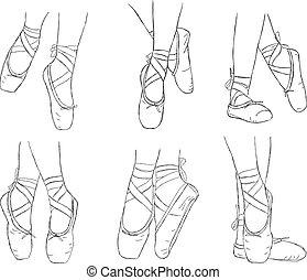 rose, ballerine, ballet, chaussures, Ruban, chaussures,...