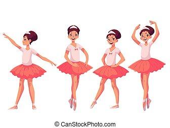 rose, ballerines, ensemble, jeune, joli, gracieux, tutu