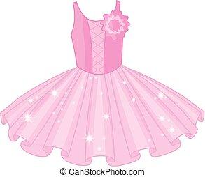 rose, ballet, doux, tutu, vecteur, robe