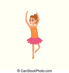 rose, ballet, girl, danse, tutu, caractère, illustration, sourire, vecteur, fond, robe blanche, dessin animé