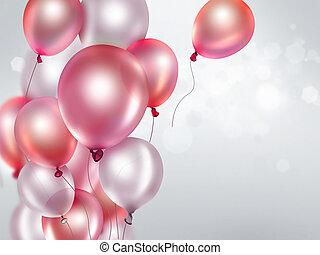 rose, ballons