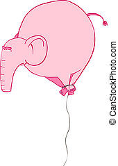 rose, balloon, éléphant