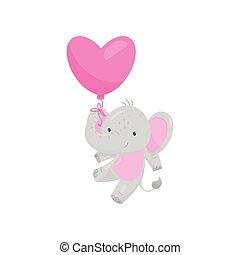 rose, balloon., forme coeur, plat, carte postale, voler, valentin, s, vecteur, éléphant, sauvage, animal., adorable, jour