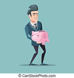 rose, bank., réussi, argent., illustration, vecteur, porcin, homme affaires, sauver
