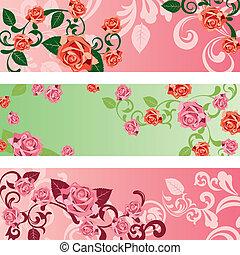 rose, bannières, ensemble