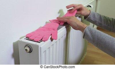 rose, beanie, femme, radiateur, endroits, gants