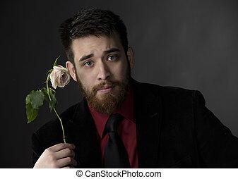 rose, besitz, kleidung, ernst, förmlichkeit, mann