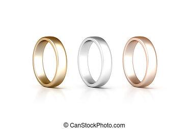 rose, bijouterie, ensemble, or, isolé, anneaux, stand, argent, doré