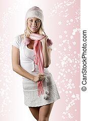 rose, blanc, femme, écharpe