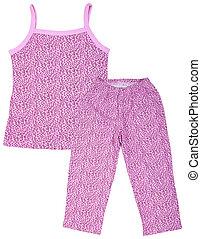 rose, blanc, femme, isolé, pajamas.