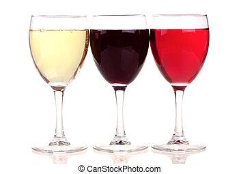 rose, blanc rouge, lunettes vin