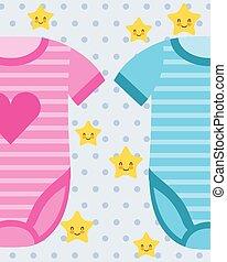 cd9fd2e7b2cd76 Bleu, rose, chaussures, bébé. Bleu, rose, chaussures, vectorial ...