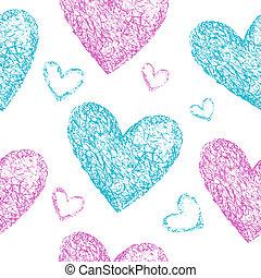 rose, bleu, cœurs, seamless, modèle
